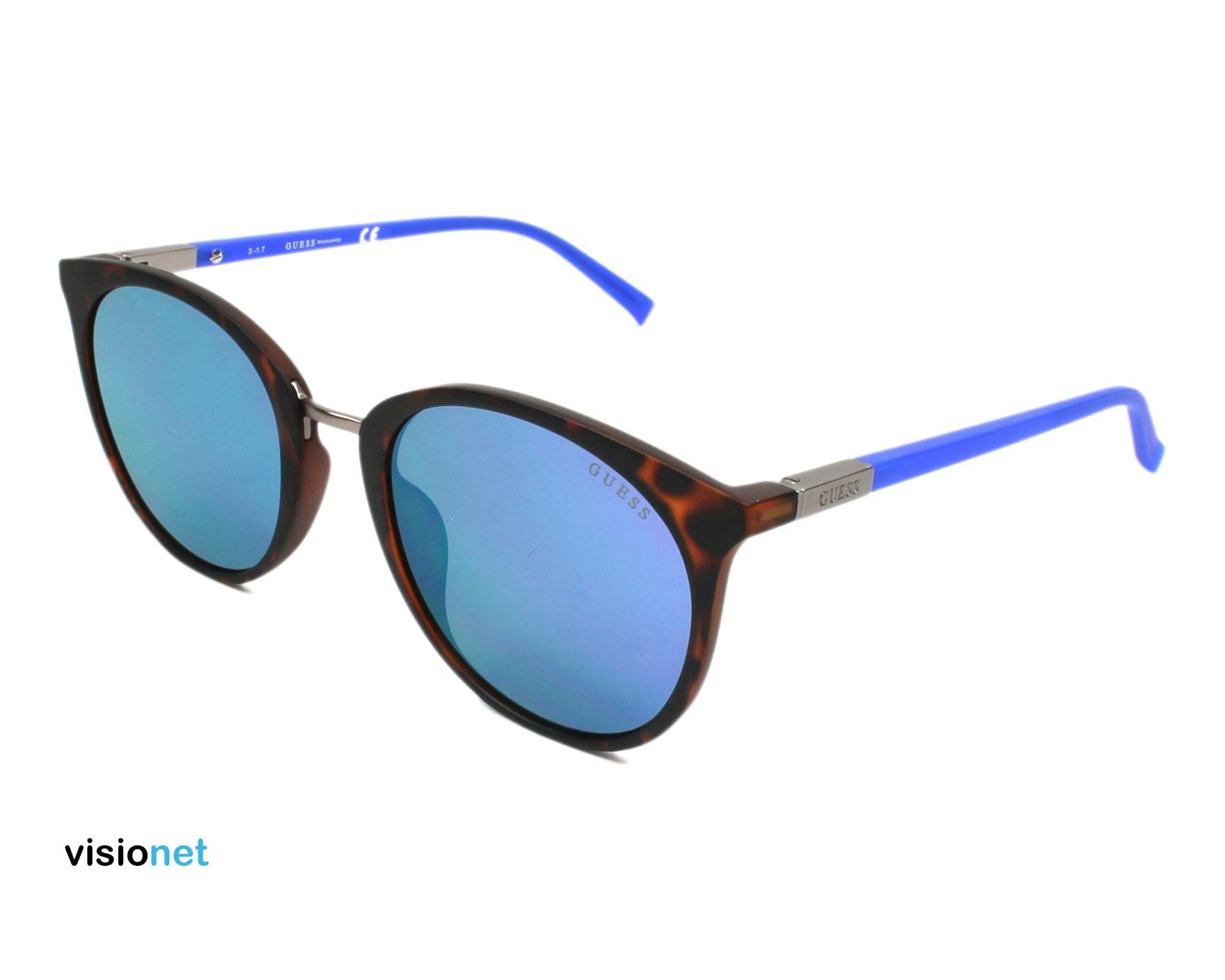 Lunettes de soleil Guess GU 3022 Plastique Havane mat - Bleu - 57 ... 8d25ff2fa583