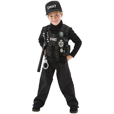 Liam Saw This At Costco Over The Weekend And Went Nuts For It But The Largest Size Is 4 6 And He Police Costume Kids Swat Halloween Costume Swat Costume Kids