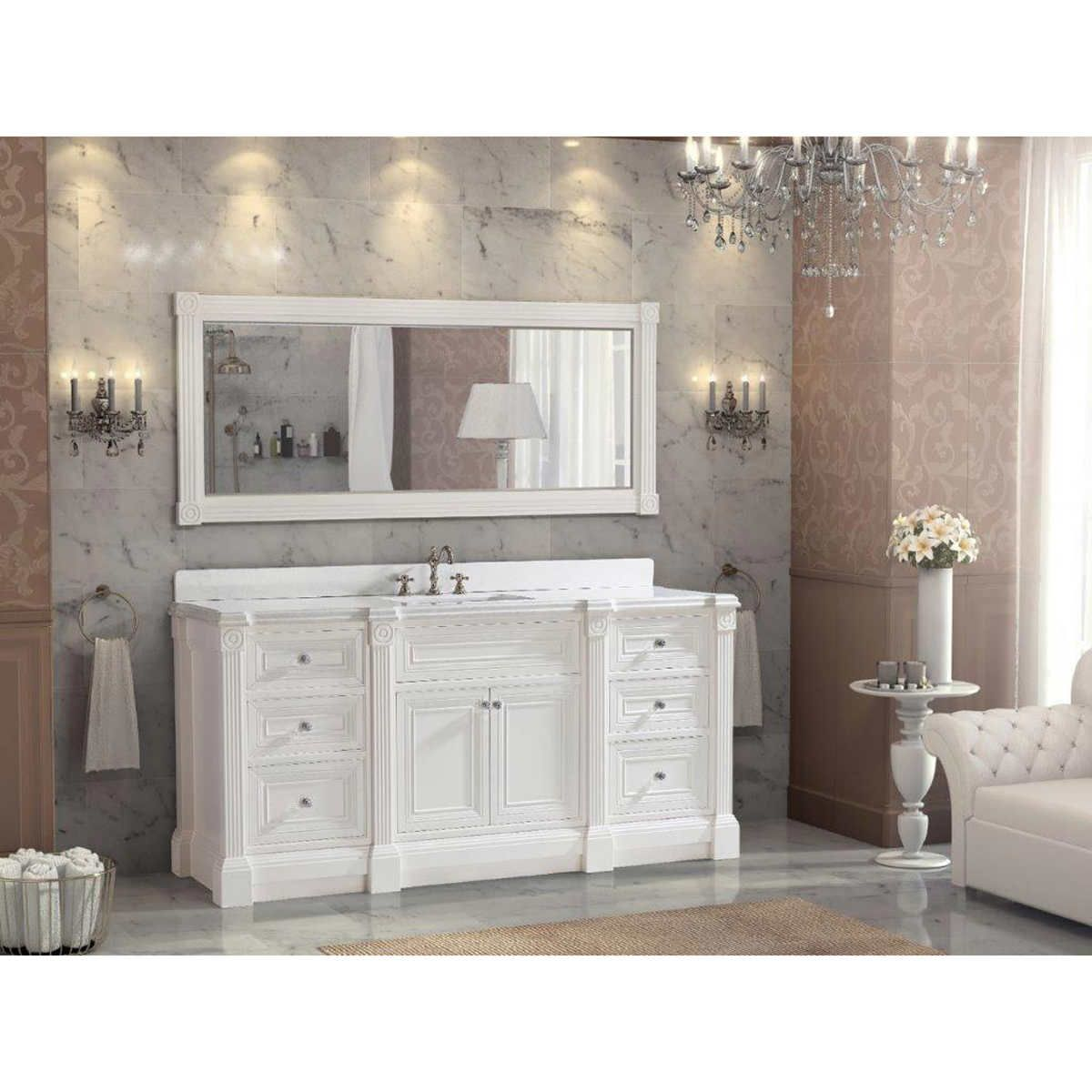 72 inch White Finish Single Sink Bathroom Vanity Cabinet ...