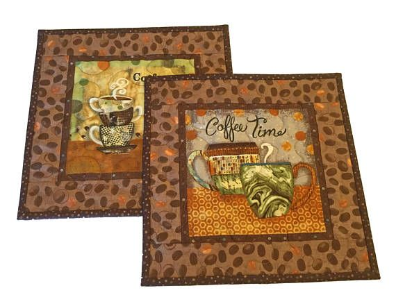 Coffee Themed Mug Rug Set Gift For Lover Quilted