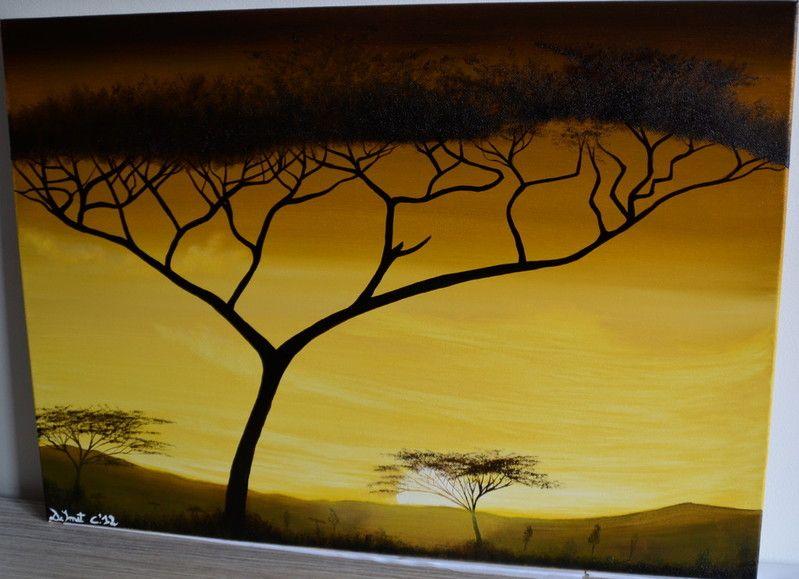 Deep yellow mountain sunset - 70cmx50cm - Exposition: UZ Ghent - 3K12E