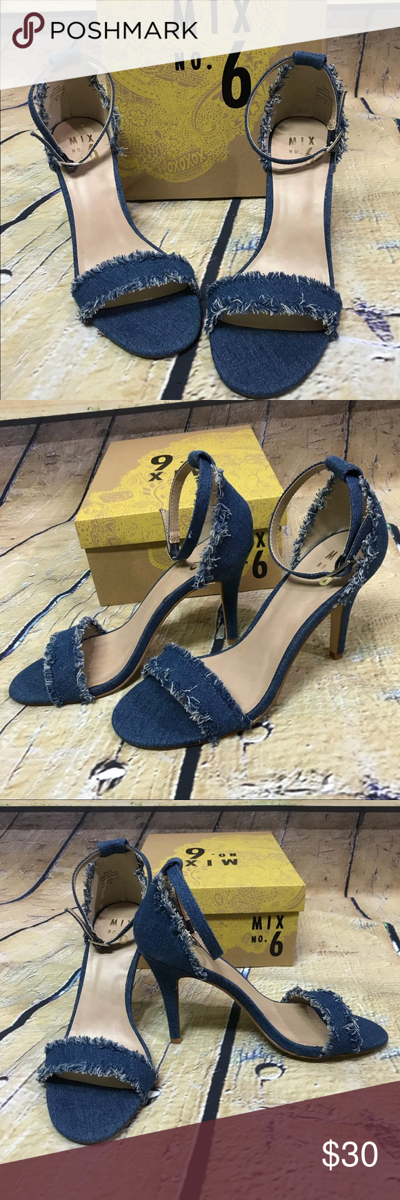 """9c1e4ed2ab00 Mix No. 6 Pavia distressed denim ankle strap open toed heels. Heel measures  4"""" Size 8 1 2 Mix No. 6 Shoes Heels"""