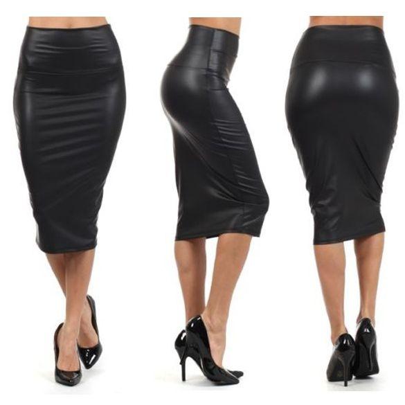 Black Faux Leather High Waist Tight Midi Pencil Skirt | Sexy ...