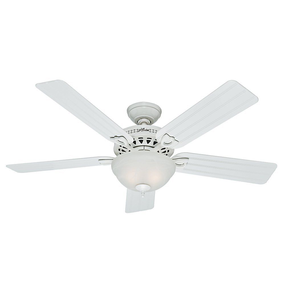 Hunter 53122 Beachcomber 52 Inch White Ceiling Fan With Five Beadboard Blades And Light