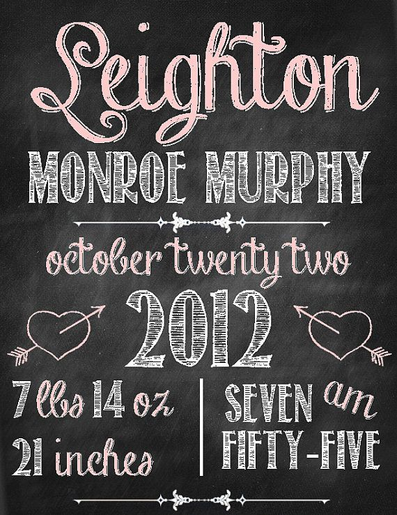 Chalkboard Baby Announcement Printable Sign | Chalkboard baby ...