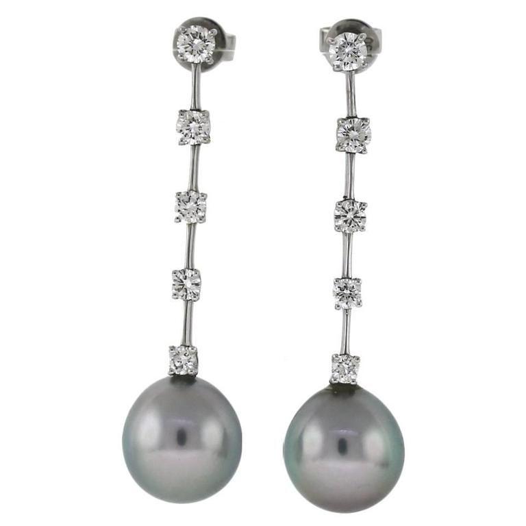 Cartier Tahitian Pearl Diamond Gold Earrings | 1stdibs.com
