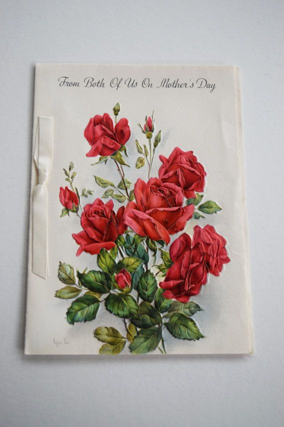 Vintage mothers day hallmark greeting card red rose ribbon embossed vintage mothers day hallmark greeting card red rose m4hsunfo