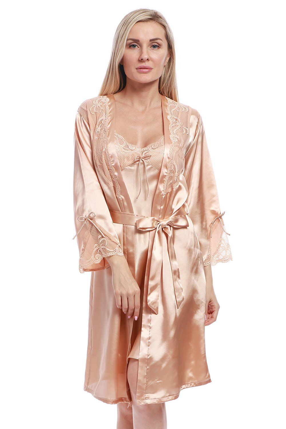 BellisMira Women s Long Satin Robe Bridal Kimono Lace Trim Nightgown Soft  Pajamas Dressing Gown Sleepwear 444f3c7ff