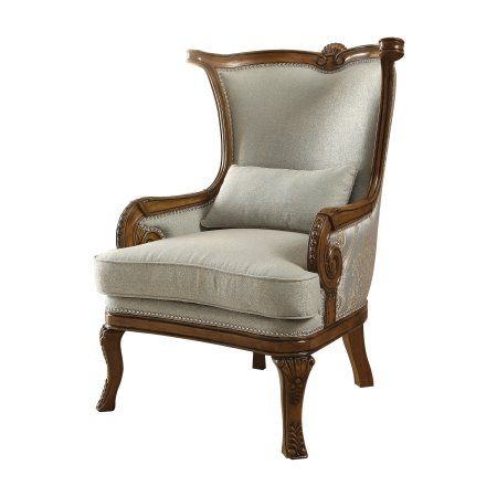 Best Acme Darian Accent Chair In Light Blue Fabric And Brown 640 x 480