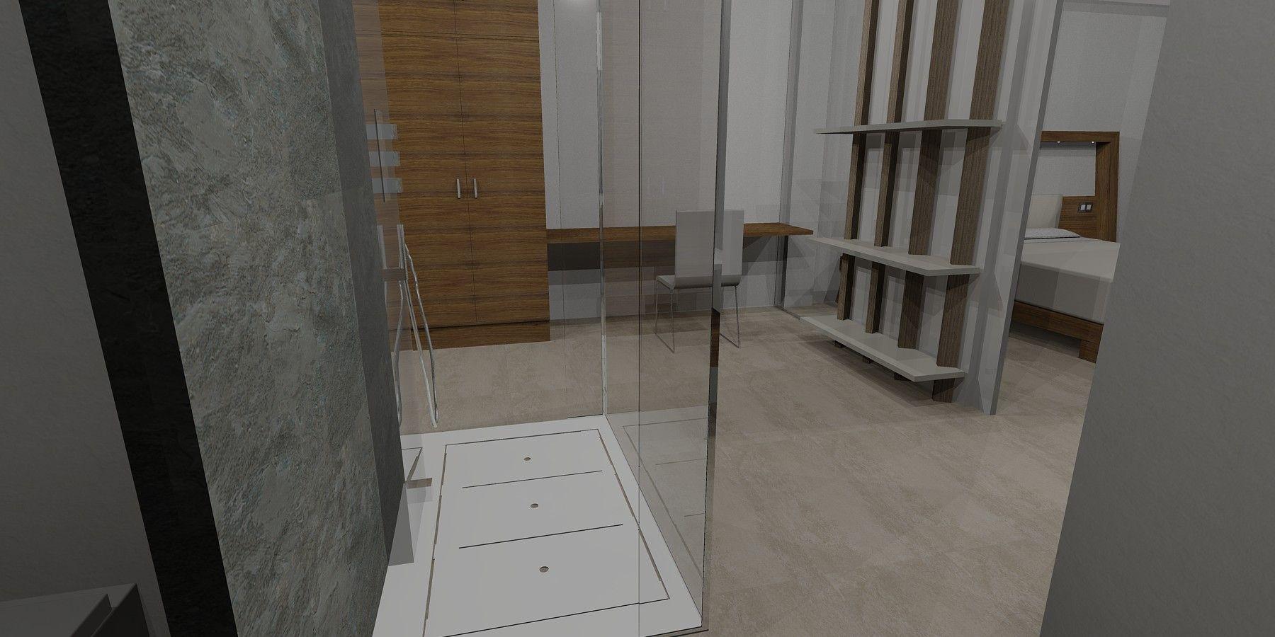 2012 Diseño Dormitorio RyANA de Ernesto Oñate. Vista desde la entrada a la ducha. Se aprecia la mampara de cristal. Enfrente se ve el armario y el tocador del vestidor y a la derecha el dormitorio tras la pared donde se apoya la estantería ENCUENTRO.