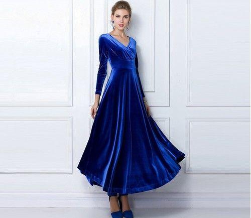 royal blue velvet | Royal Blue Long Velvet Party Formal Evening Maxi Dress Gown