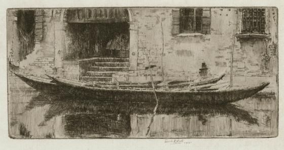 A Quiet Canal, Venice original etching by Ernest Roth 1906
