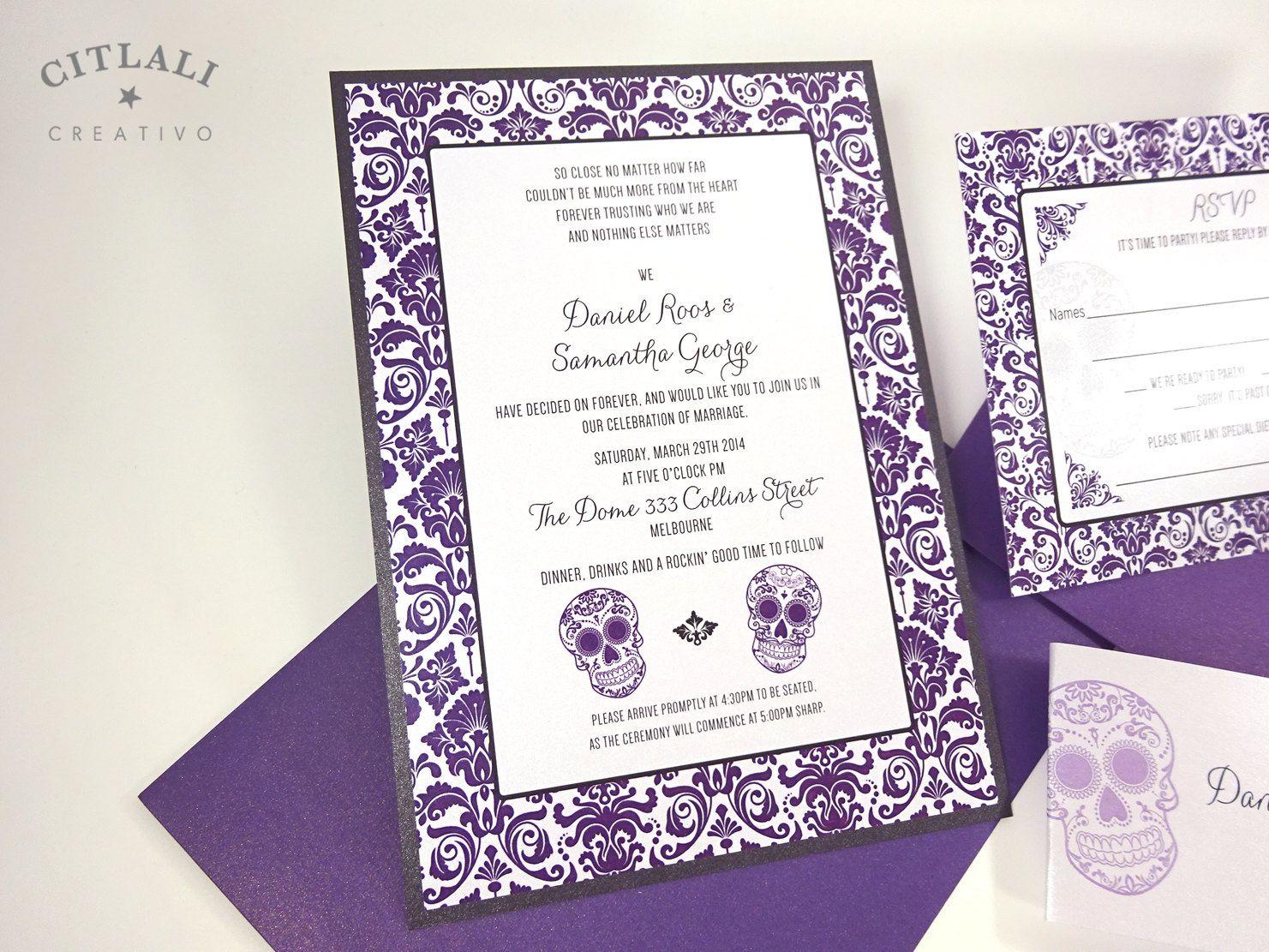 Violet Purple Skull Damask Wedding Invitations - Dia de los Muertos ...