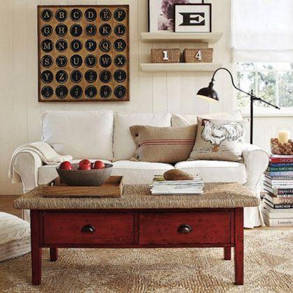 table basse en pin teinte en rouge | BRICOLAGE | Mobilier de salon ...