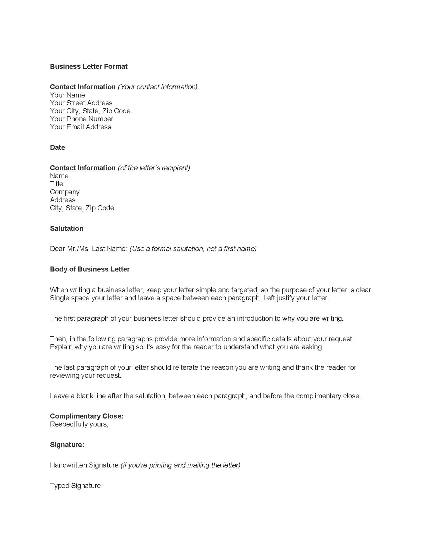 templategeneralbusinessletterbusinesslettersamplephoto – Sample Standard Business Letter