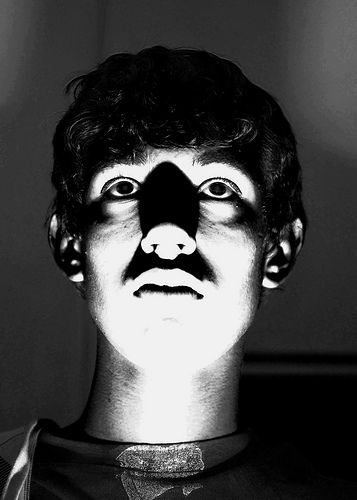 spooky eerie portrait photo lit from