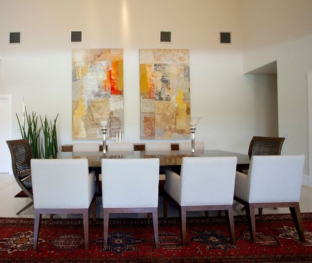 Dining Room Wall Decor With Abstract Art Painting For Red Wine
