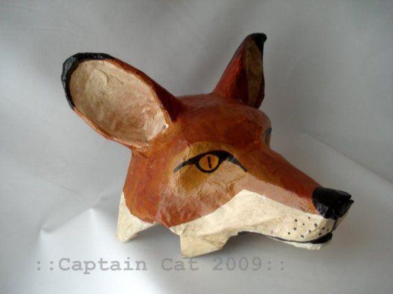 Fox Mask Original Folk Art By Captaincat By Captaincat On Etsy