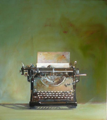 Unknown Title - by Wendy Chidester  > I love many of Wendy's paintings of old office equipment, suitcases. cameras and other items with timeless character and interest.  This one is a particular favorite.  She does it very, very well.