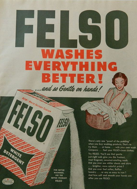 Vintage Soap Ad Felso Washer Detergent 1950s Washing