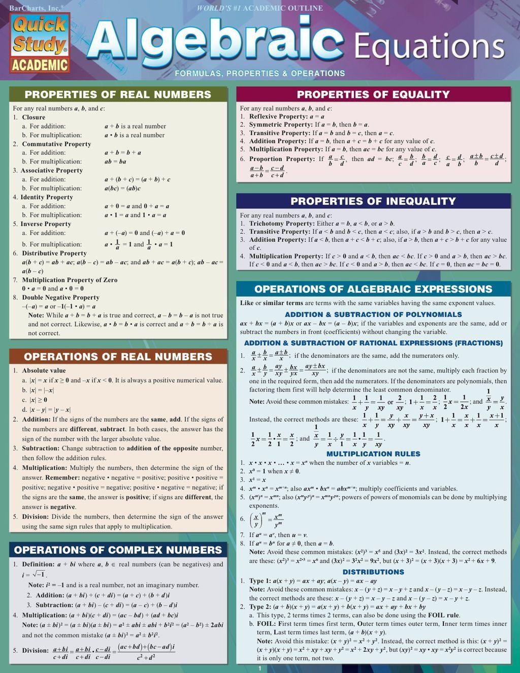 Quickstudy Algebraic Equations Ebook Rental