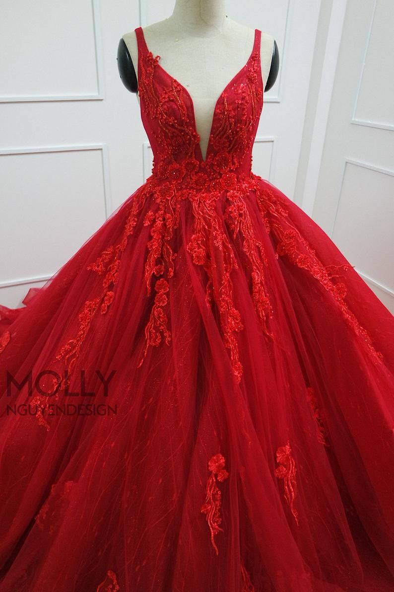 Red Ballgown Dress Red Evening Dress Etsy In 2021 Red Homecoming Dresses Red Evening Dress Ball Gown Dresses [ 1192 x 794 Pixel ]