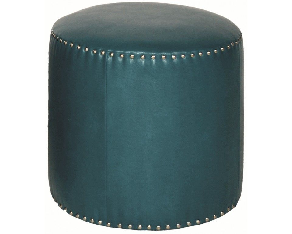 Admirable Round Ottoman Blue Faux Leather Nailhead Trim Round Ottoman Gmtry Best Dining Table And Chair Ideas Images Gmtryco