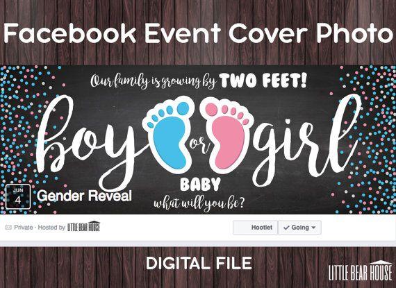 Facebook Event Cover Photo For Gender Reveal Party Digital Etsy In 2020 Gender Reveal Party Gender Reveal Facebook Event