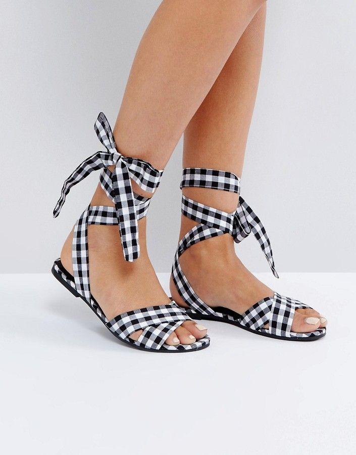 9de02afe903 New Look Gingham Lace Up Flat Sandal