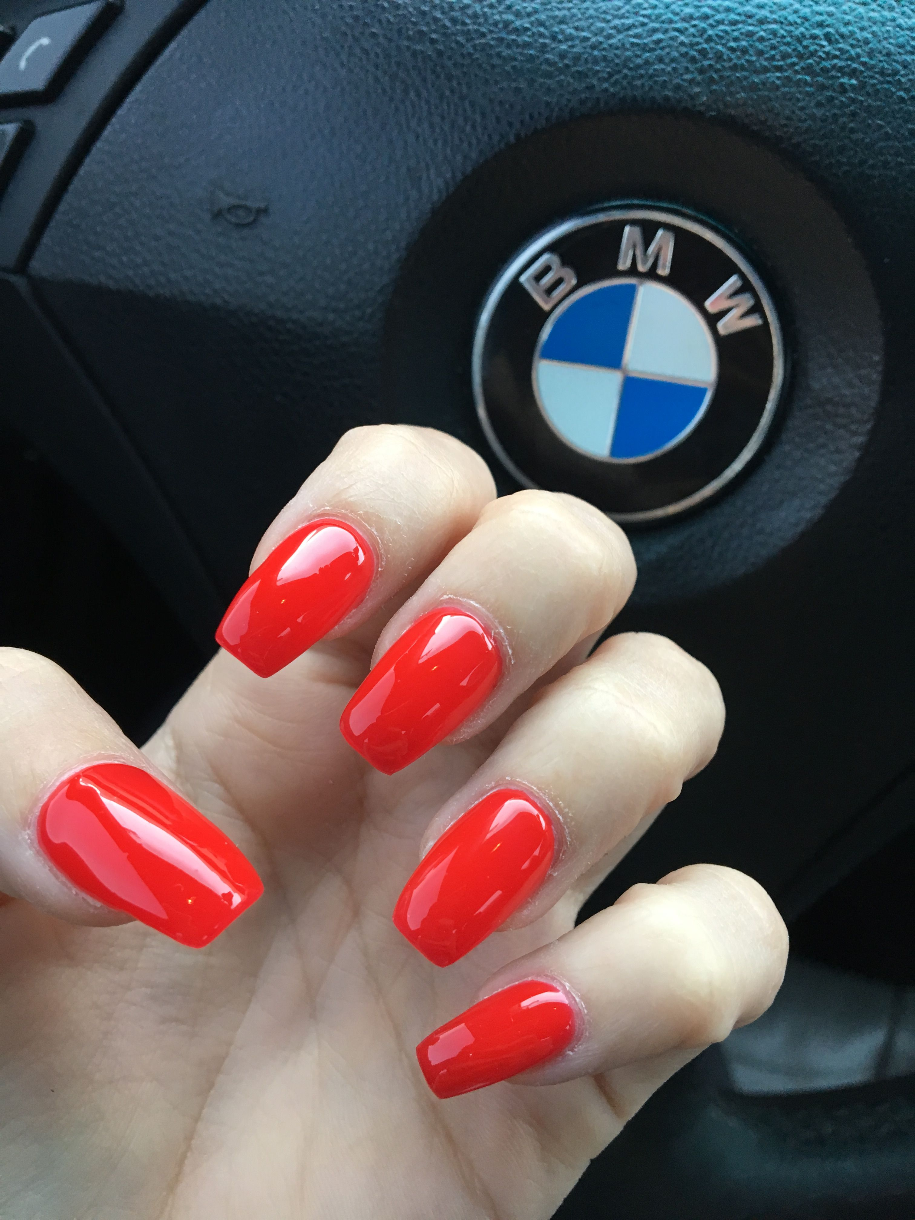 Ferrari Red Coffin Nails 12 23 16 Coffin Shape Nails Nails Hot