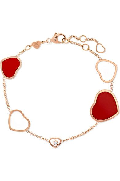 Happy Hearts 18-karat Rose Gold, Diamond And Red Stone Bracelet - one size Chopard