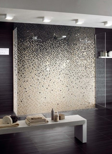 Fading From Dark To Light Mosaic Bathroom Tile Eclectic