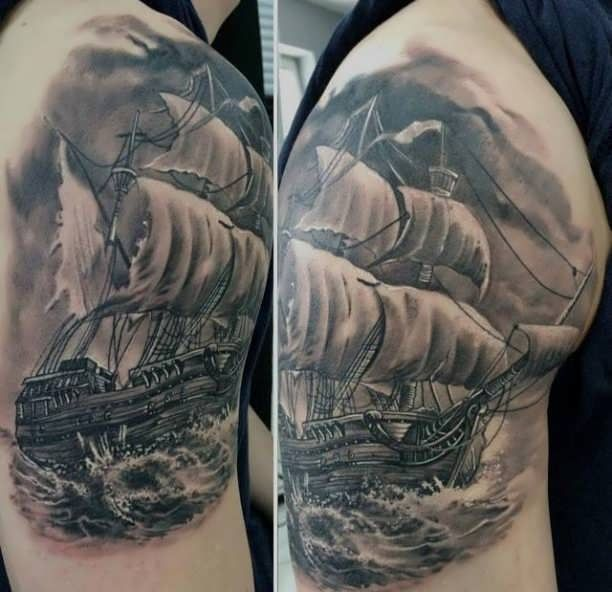 ship in the storm tattoo tattoo. Black Bedroom Furniture Sets. Home Design Ideas