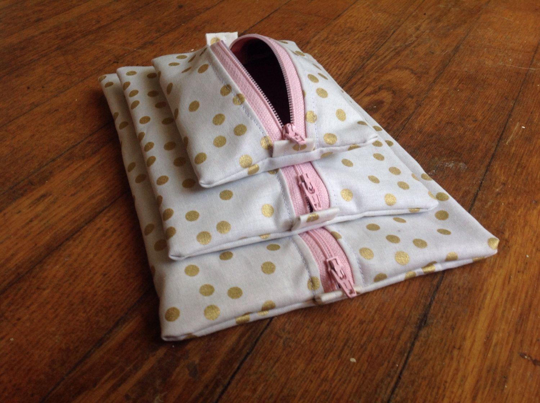 Gold And Polka Dot Cosmetic Bagbag Set Travel Bag Set Makeup - Travel bag for bathroom items for bathroom decor ideas