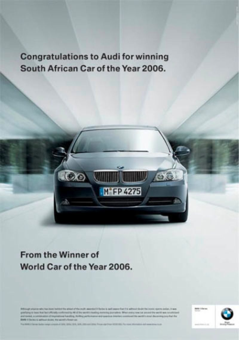 BMW Congratulations To Audi Ads Creative Pinterest BMW And Ads - Audi car year
