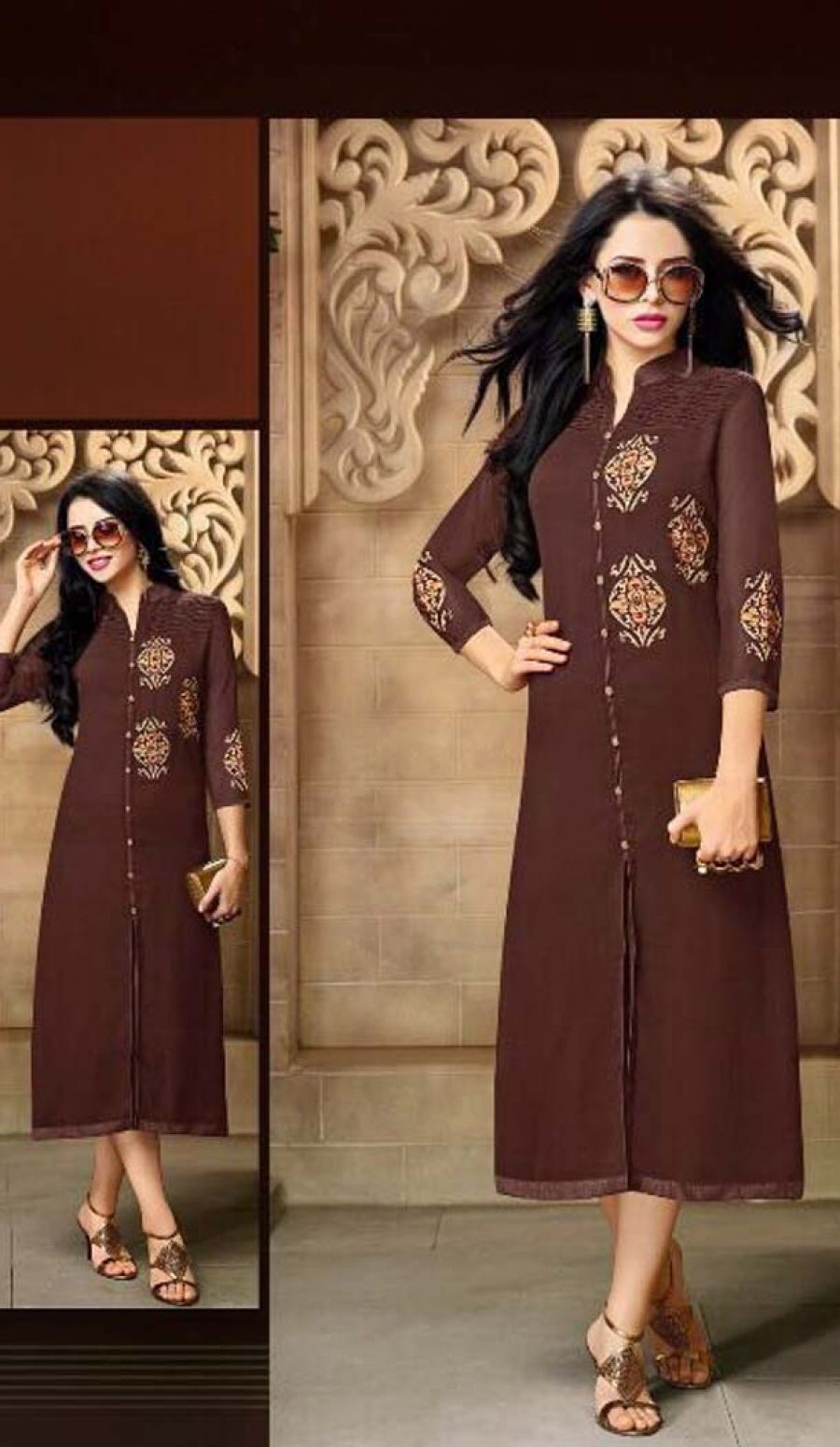 fcb5bd77b Chocolate Color Georgette Party Wear Readymade Kurtis