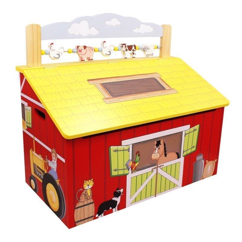 Kids Hy Farm Wood Toy Box Storage Chest Barn Animal Theme New Teamsonkids