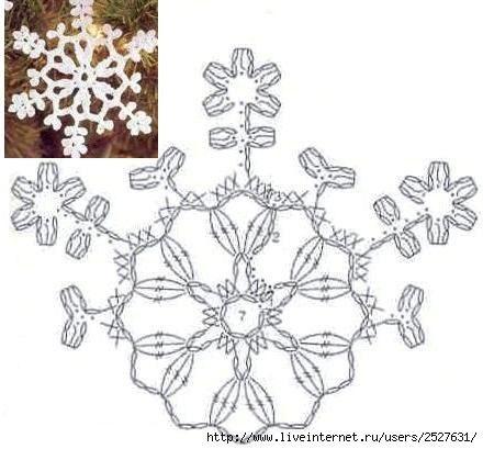 Схемы снежинок крючком | 70 фотографій