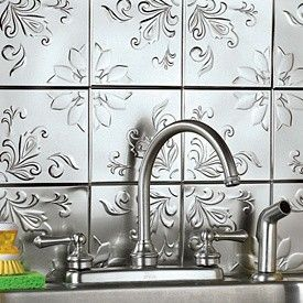 "Decorative Tin Backsplash Tiles Self Adhesive Decorative Silver Embossed Tin Tiles  6"" X 6"" Set"
