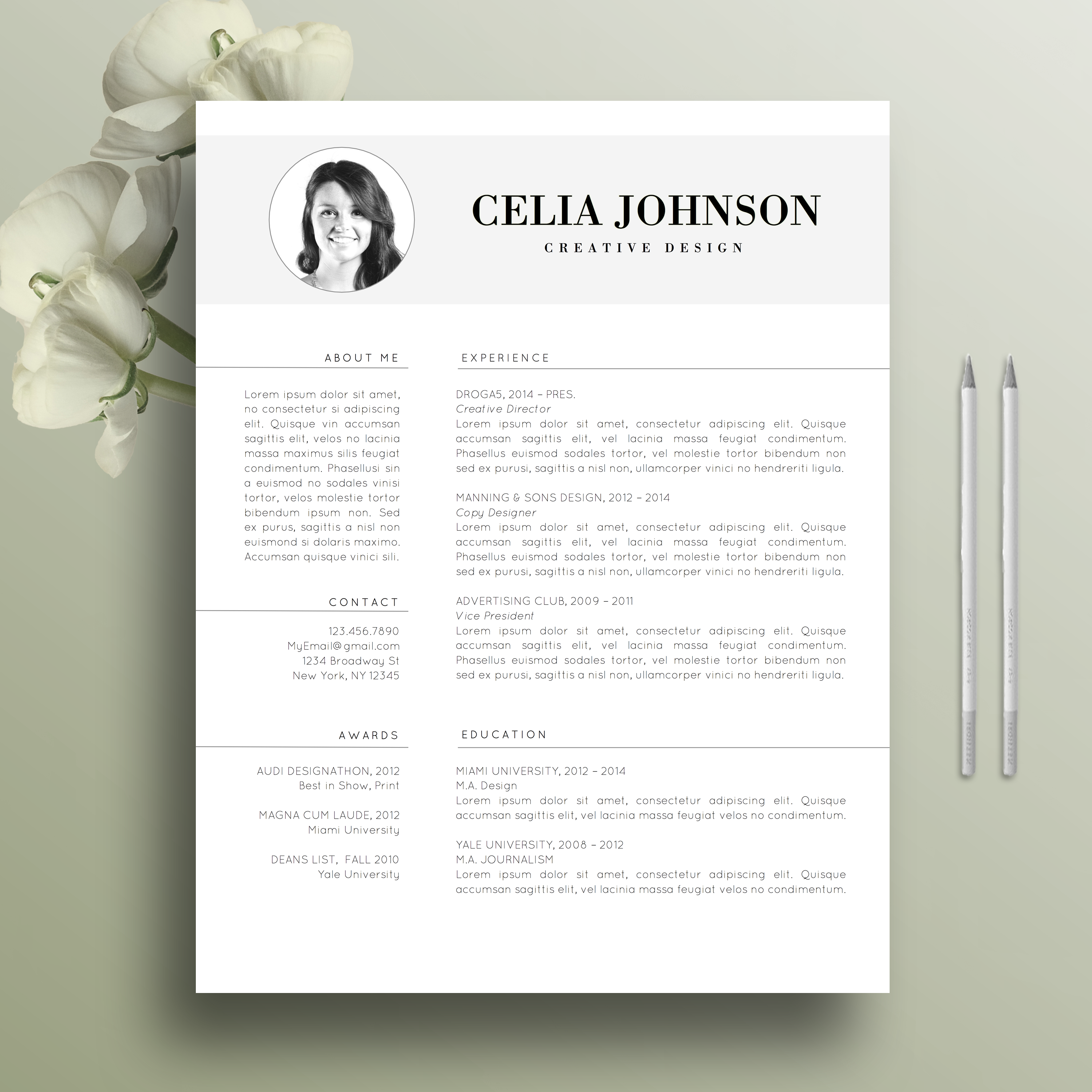 Professional Resume Template, Cover Letter Template for Word, Modern ...