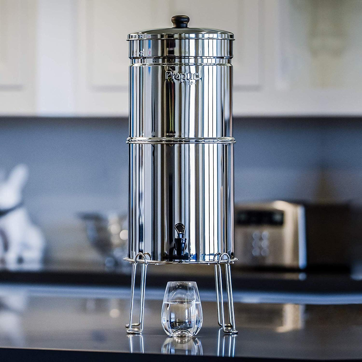 Propur Big Countertop Gravity Water Filter System Removes