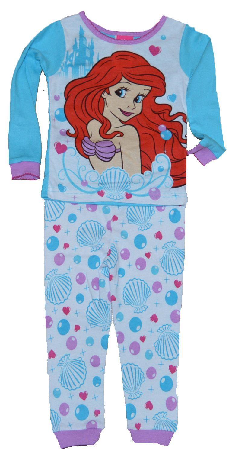 Ragazze Bambino Disney Sirenetta Pigiama Set Cotone Nightwear