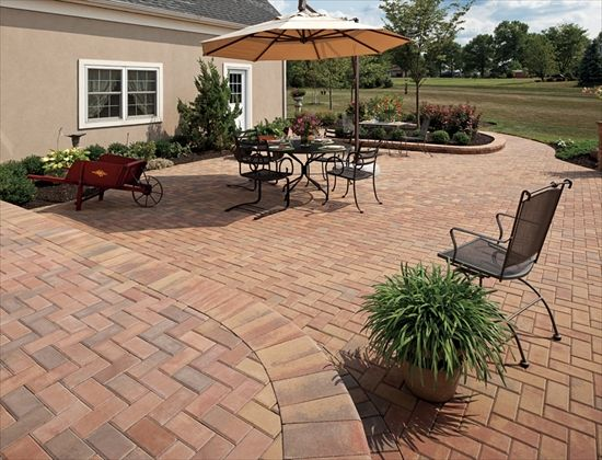 Ep henry pavers in brick stone rosetta 90 herringbone for Pinterest patio pavers