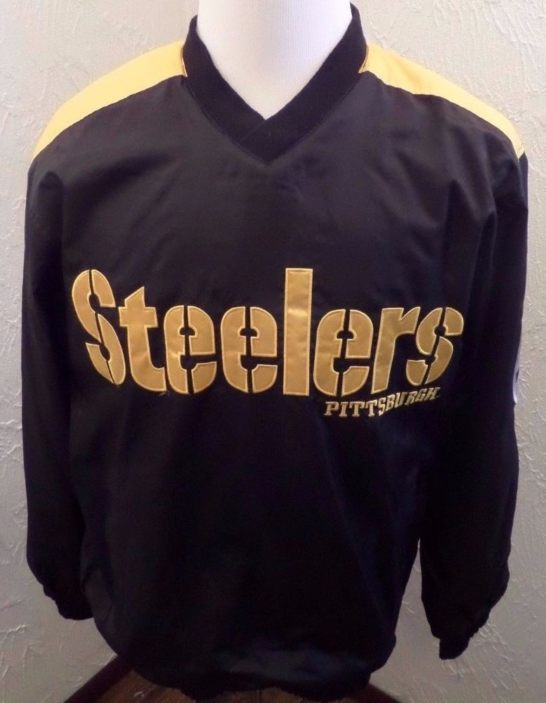 b5a84221c NFL Pittsburgh Steelers Pullover Embroidered Jacket Mens - Black Sz Medium  NWOT  NFL  PittsburghSteelers