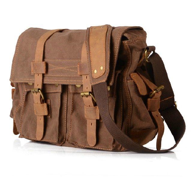 Men s Handmade Vintage Crazy Horse Leather Canvas Single-Shoulder BagS    Satchel   Travelling bags   Business Bags   14  Laptop Bags ( m2138. a88d1b13c4c23
