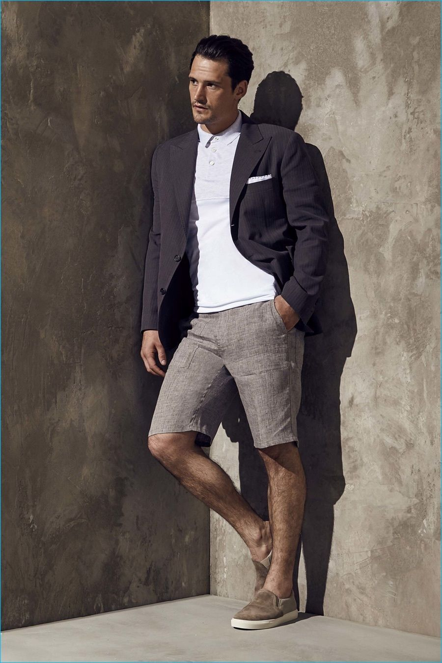 ... slip-on sneakers brings the dressed-down touch to the ensemble. Shop  this look on Lookastic: https://lookastic.com/men/looks/blazer-polo-shorts/20575  ...