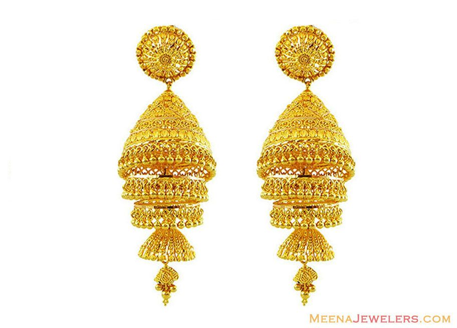 22k Gold Jhumkas Layered Jhumka Earrings 22kt Fancy