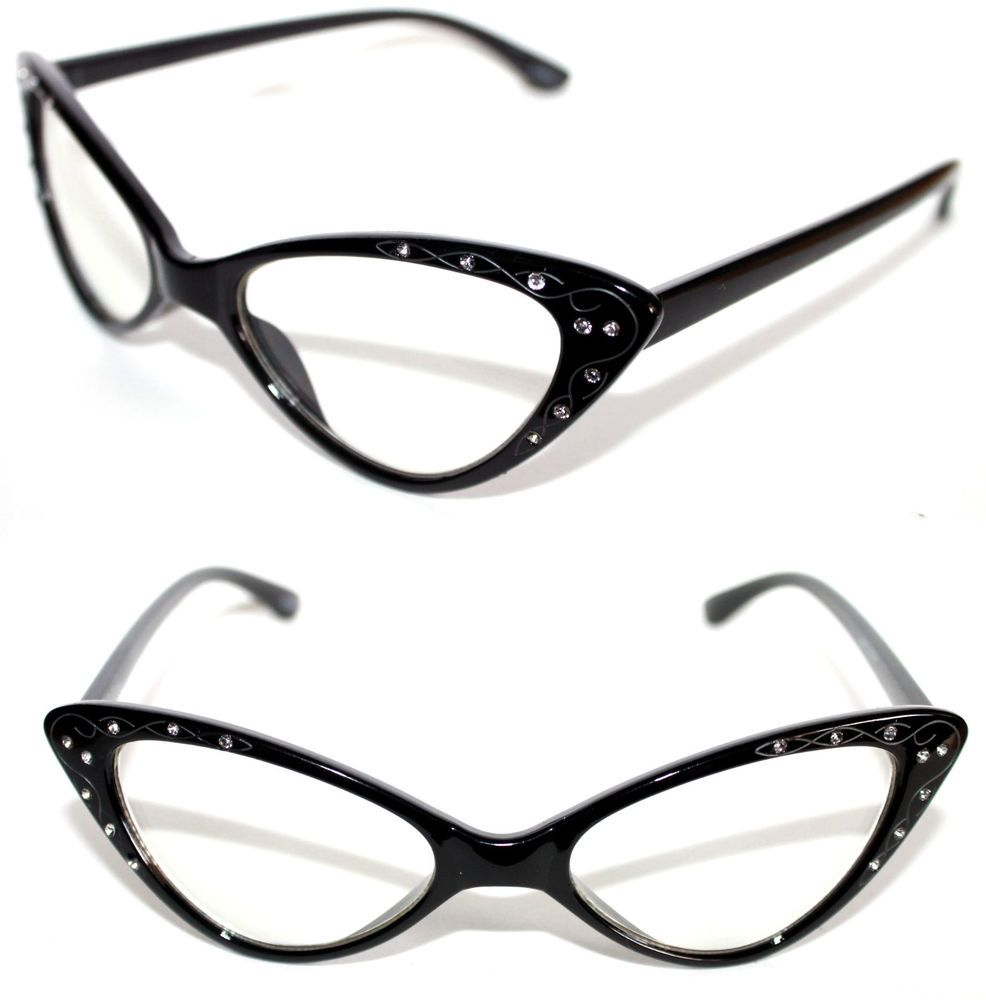 bcb4f2199c5b Women s small Cat eye Clear Lens Eye Glasses Black Clear Rhinestone 50 s  318  Spexx  CatEye