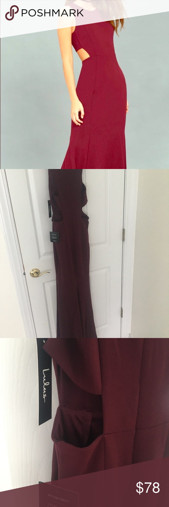 Lulus wedding guest dress  Luluus size XS burgundy BNWT maxi dress  NWT  My Posh Picks