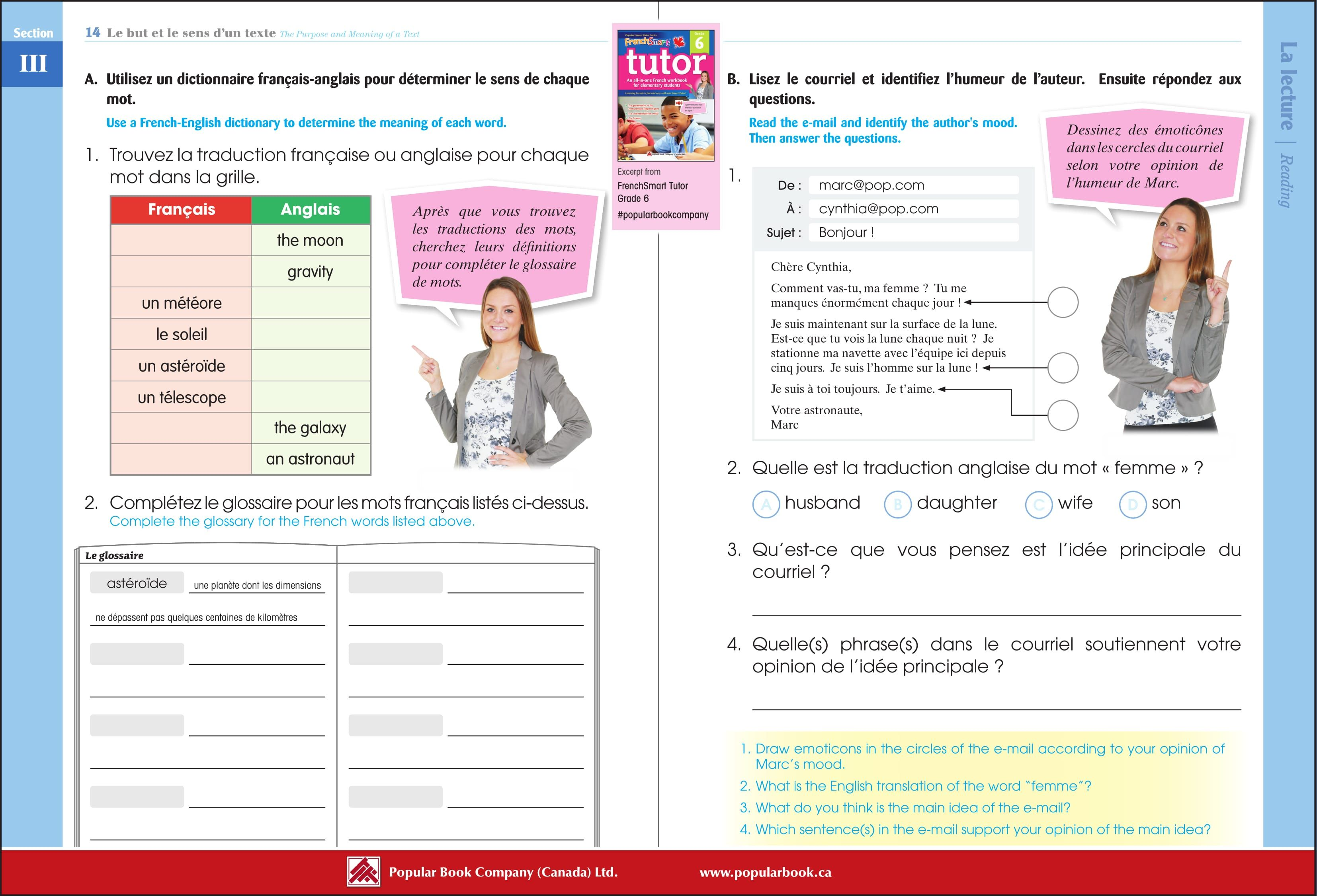Download the free sample pages from FrenchSmart Tutor Grade 6 workbook.  #PopularBookCompany #Frenc…   Free worksheets for kids [ 2252 x 3308 Pixel ]